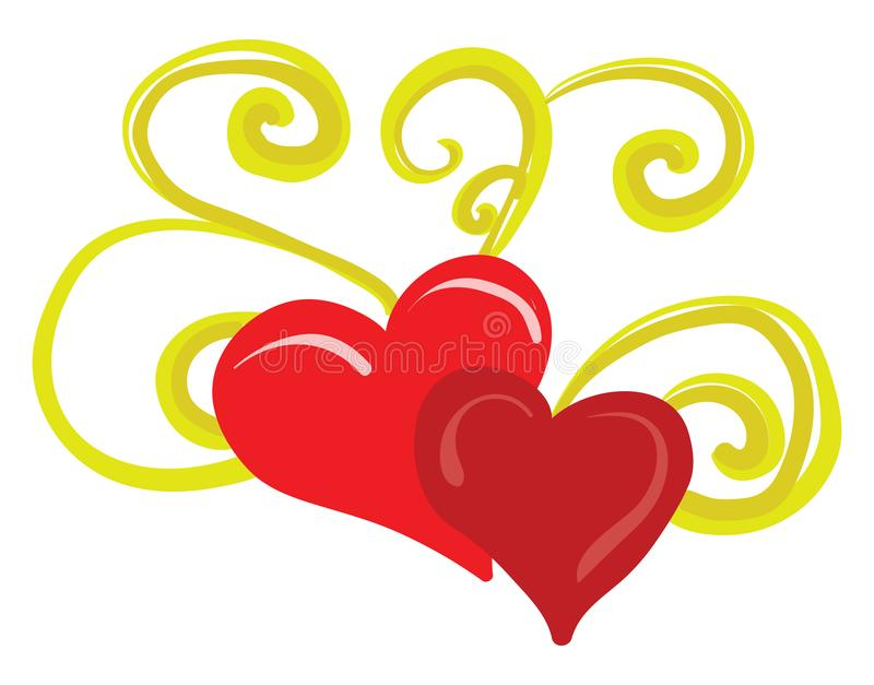 A pattern of two red hearts with golden floral ornaments vector or color illustration vector illustration