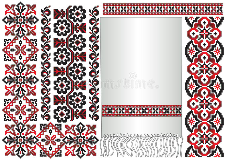 Pattern ukrainian embroider. There is a scheme of ukrainian pattern for embroidery stock illustration