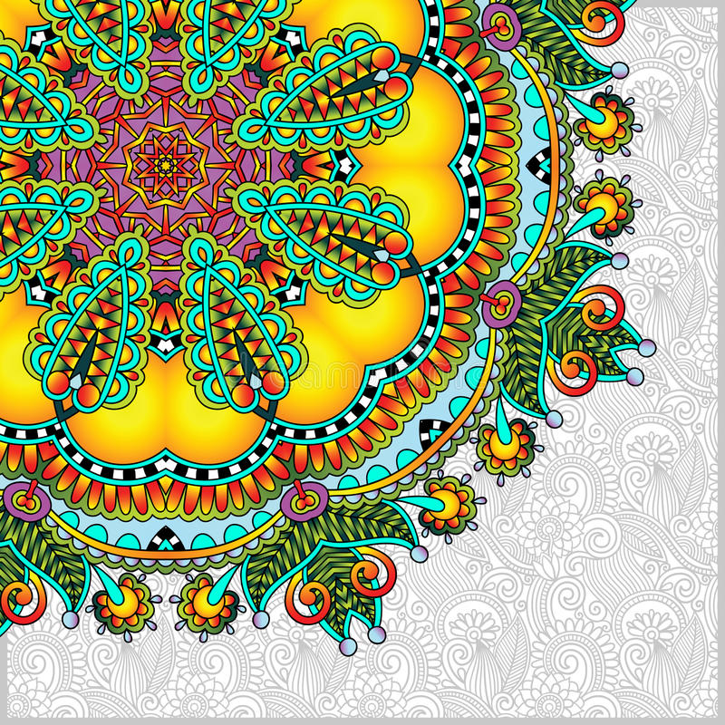 Pattern in ukrainian oriental ethnic style. Floral round pattern in ukrainian oriental ethnic style for your greeting card or invitation, template frame design vector illustration