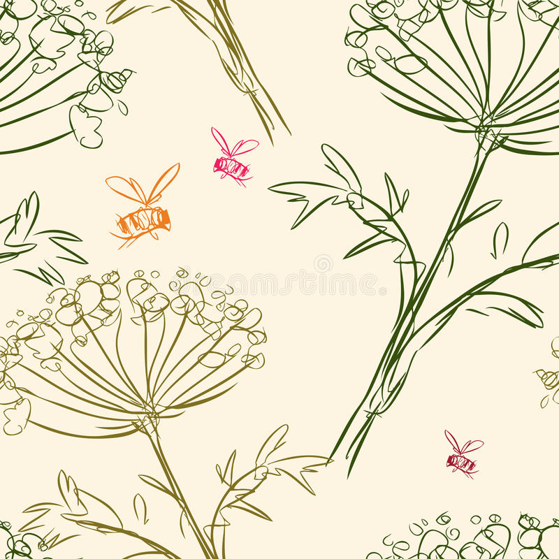 Pattern of the umbellate flowers and bees stock illustration