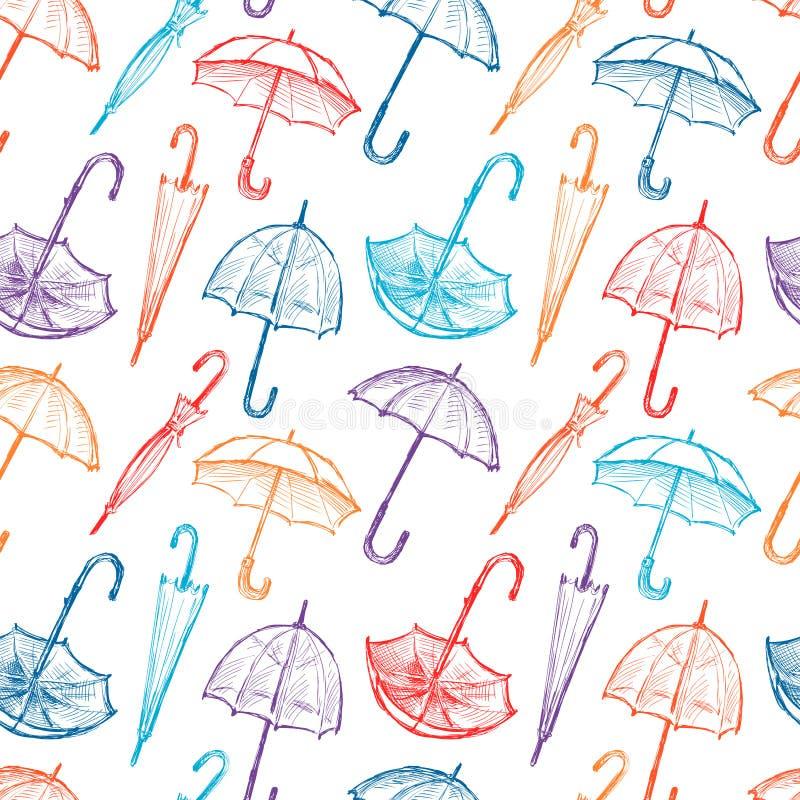 Pattern of umbrellas. Vector pattern of the colorful umbrellas stock illustration
