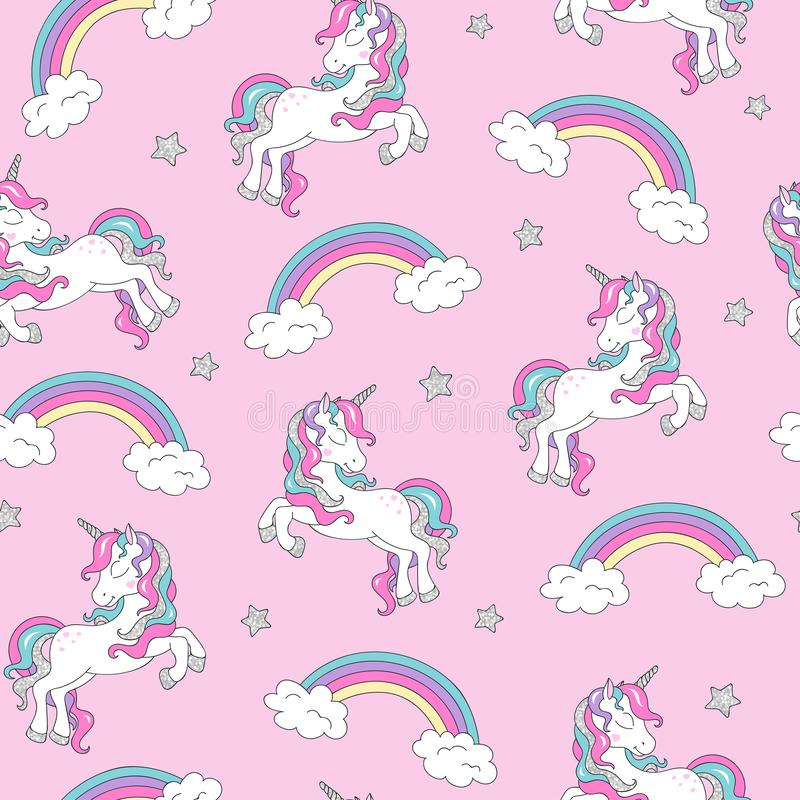 Pattern with unicorn. Trendy seamless vector pattern on a pink background. Fashion illustration drawing in modern style for. Clothes. Drawing for kids clothes royalty free illustration