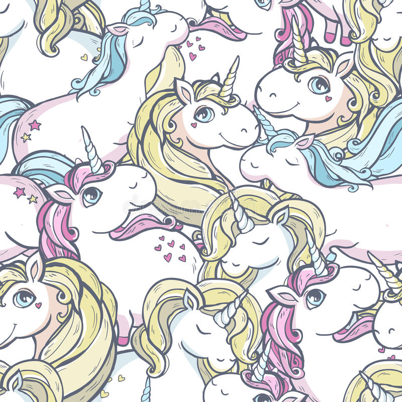 Pattern with unicorns. Seamless vector pattern with cute magic unicorns