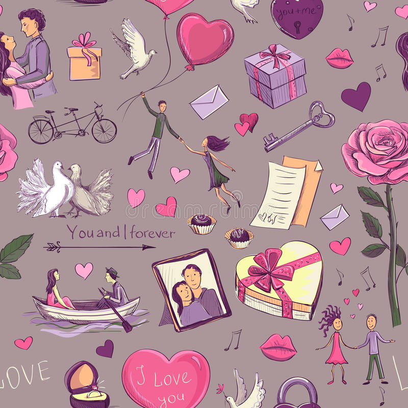 Pattern Valentine`s Day. Seamless color pattern Valentine`s Day stock illustration