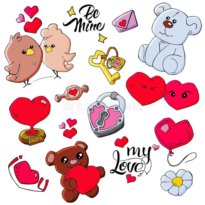 Pattern of Valentine`s Day theme doodle elements. Hand drawn and colored love symbols and hearts on white background vector illustration
