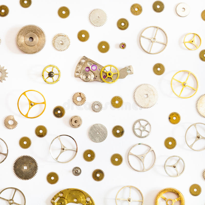 Pattern from various old watch spare parts stock image