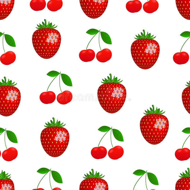 Pattern. Vector drawing of realistic, bright, juicy berries cherry and strawberry. vector illustration