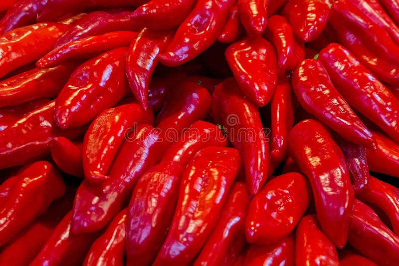 Pattern of vegetable sweet red pepper a lot of long fruit fresh base of salads sauces light snack diet royalty free stock photography