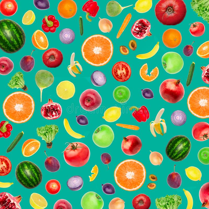 Vegetables and fruits Food pattern background Top view on mint stock photography