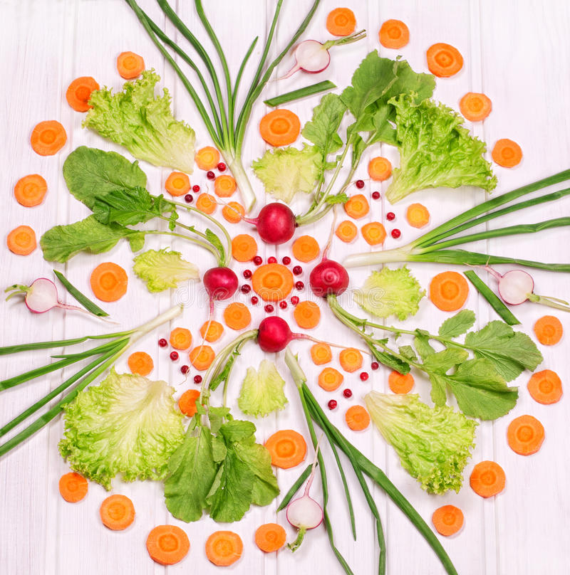 Pattern from vegetables on a white background stock images