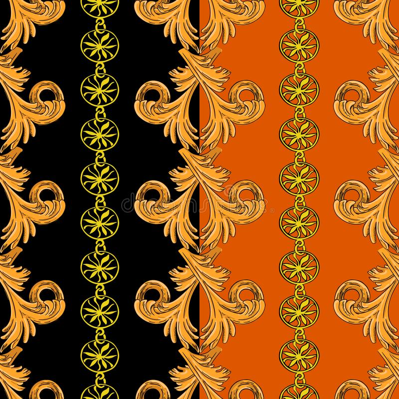 Pattern with vertical patterns and chain. Seamless pattern with vertical golden patterns and chains. Pattern on a black and orange background royalty free illustration
