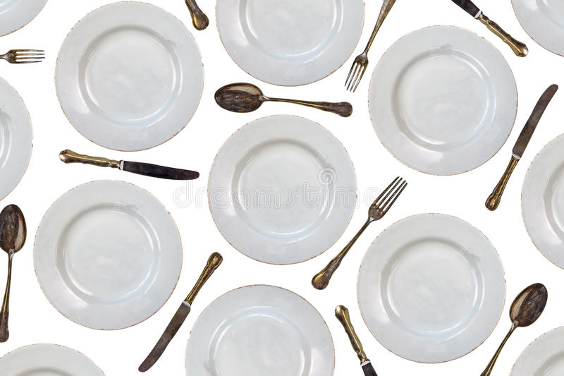 Download Pattern Of Vintage Dinner Plates Knives Forks And Spoons Stock Photo - Image  sc 1 st  Dreamstime.com & Pattern Of Vintage Dinner Plates Knives Forks And Spoons Stock ...