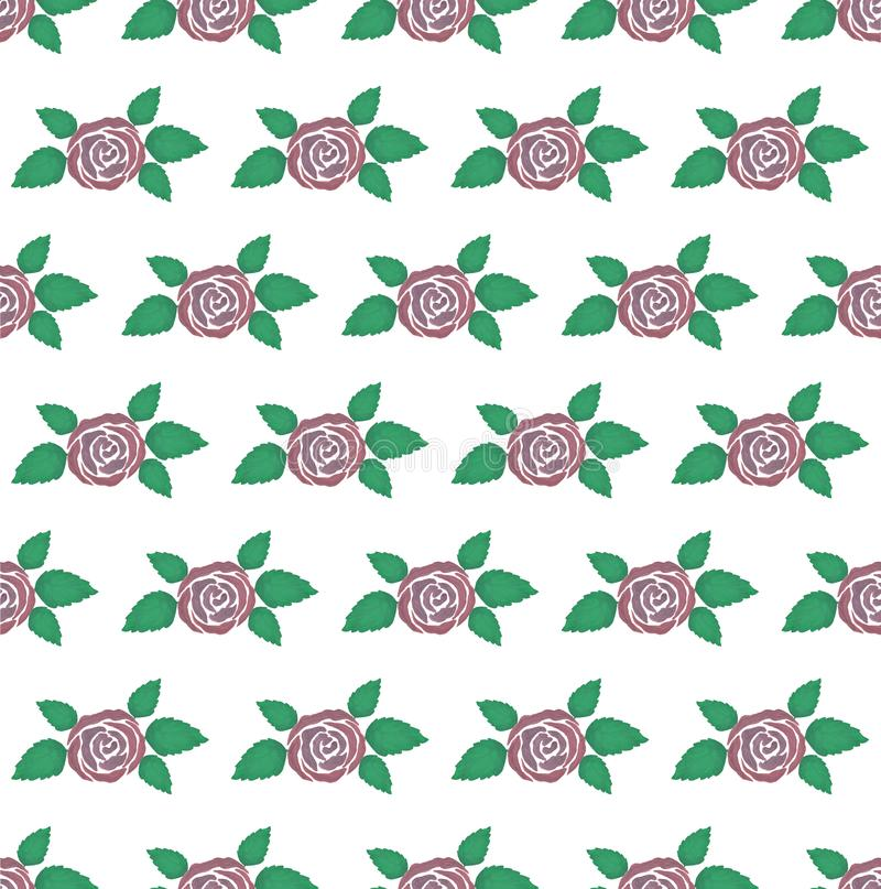 Pattern of vintage floral gouache bouquet of rose. Flowers decoration pattern royalty free illustration