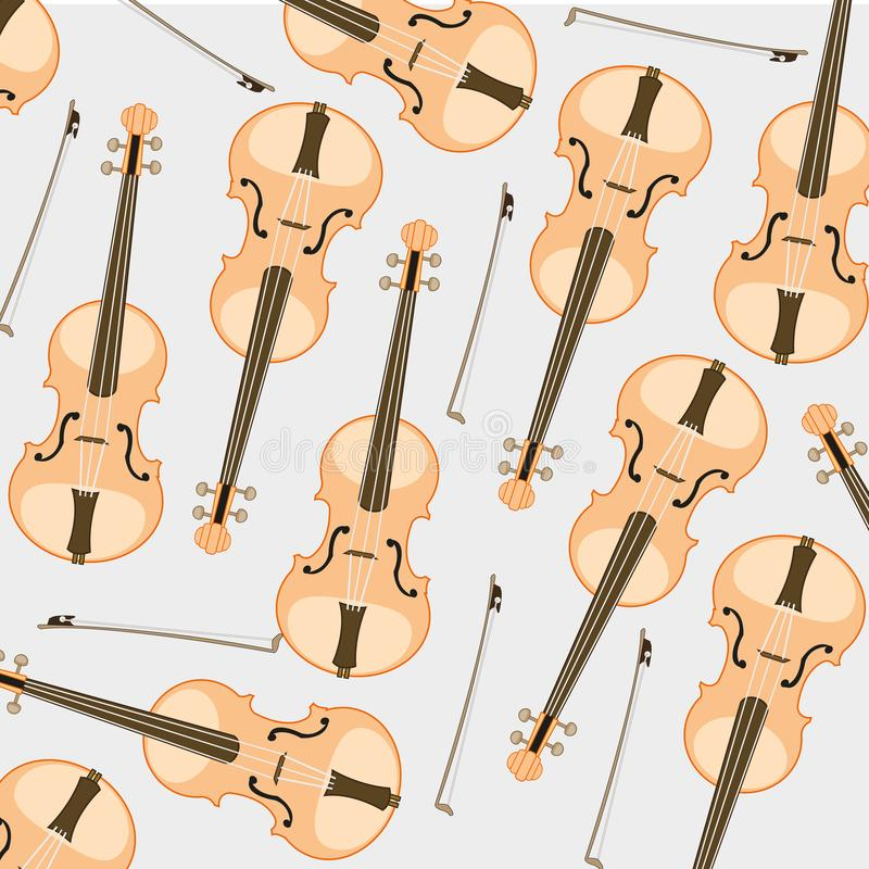 Pattern from violin and joining. Decorative pattern from music instrument violin and joining on white background stock illustration