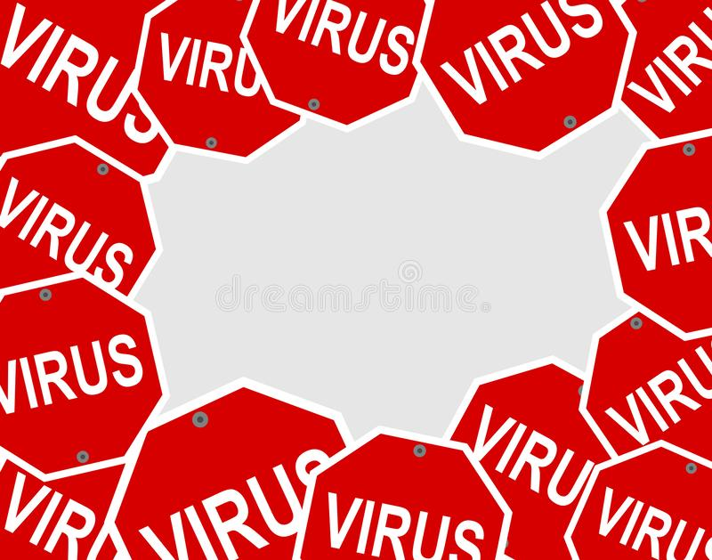 Pattern of a virus with red danger sign. This is an illustration royalty free illustration