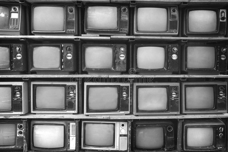 Pattern wall of pile black and white retro television royalty free stock photography