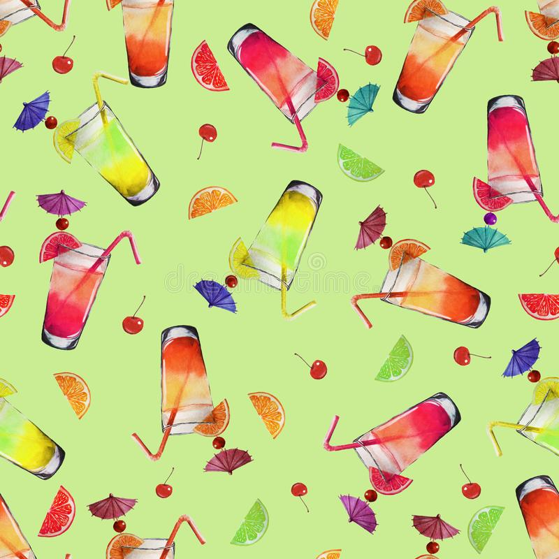 Pattern Watercolor Cocktails and Fruits stock illustration