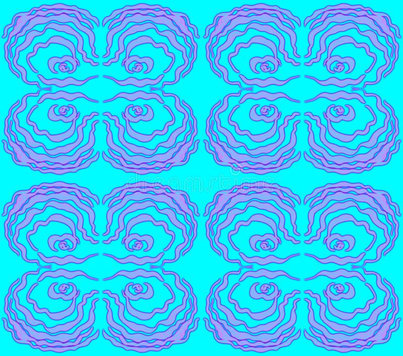 Pattern of 4 wave-like figures of lilac color. Pattern of 4 wave-like figures of lilac color on a turquoise background. Freehand drawing. For different design royalty free illustration