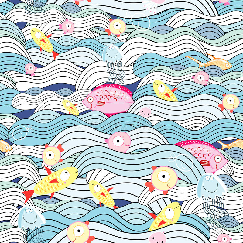 Pattern of waves and fish royalty free illustration