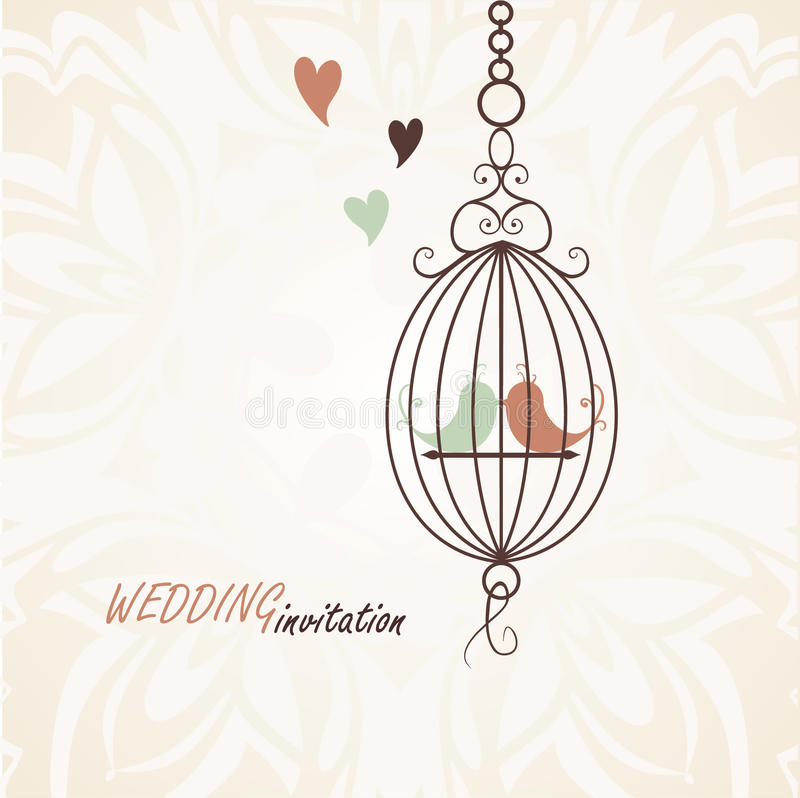 Pattern for wedding invitation. Silhouette of a couple in love birds in a cage vector illustration