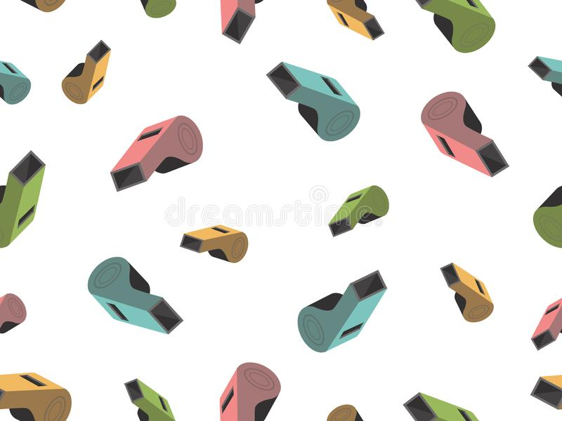 Pattern with whistle is blue, pink, green and yellow. royalty free illustration