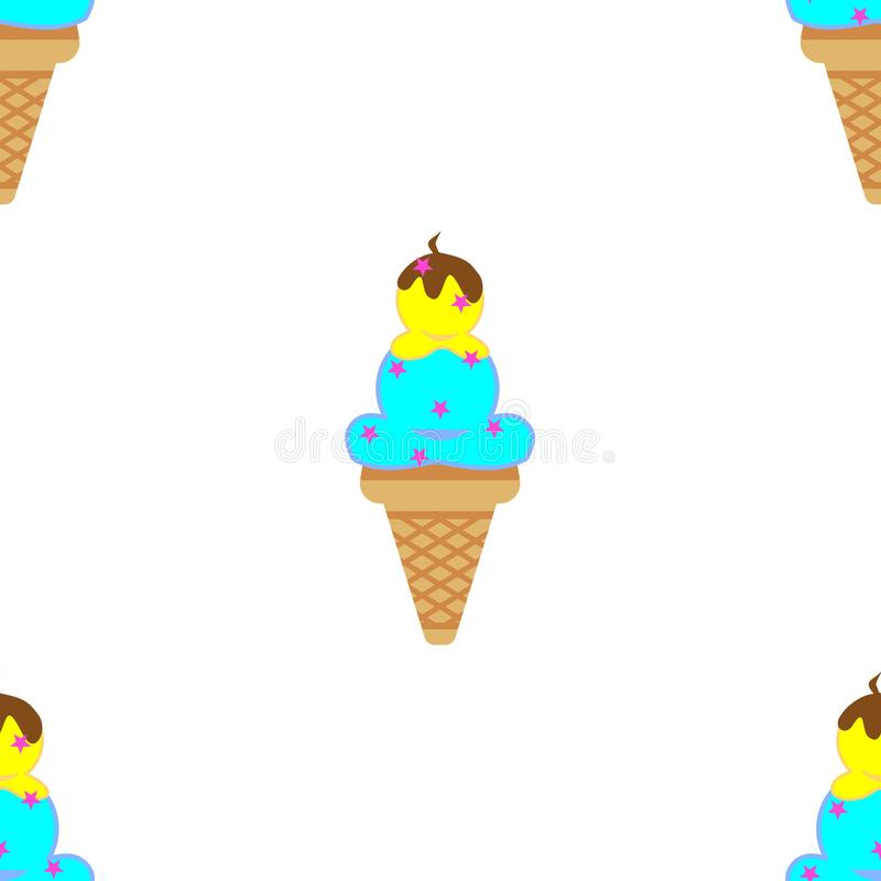 Pattern on a white background of ice cream. Vector illustration of ice cream. stock photo