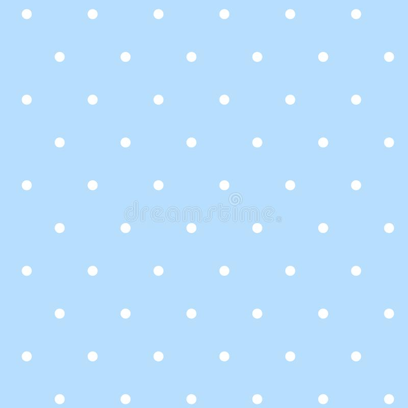 Pattern with white dots on a blue background. Vector idle ornament in shabby chic style vector illustration