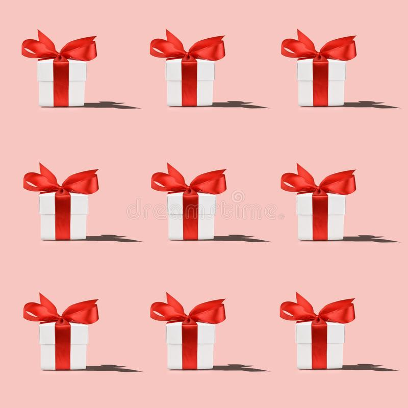 Pattern of white gift box royalty free stock photos