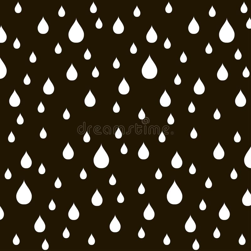 Pattern of white water drops on black, vector. Illustration stock illustration