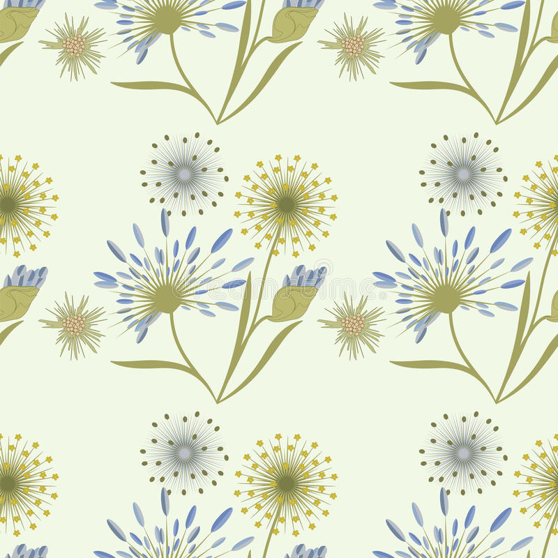 Pattern wildflowers gentle beige blue on a light background art creative stock illustration