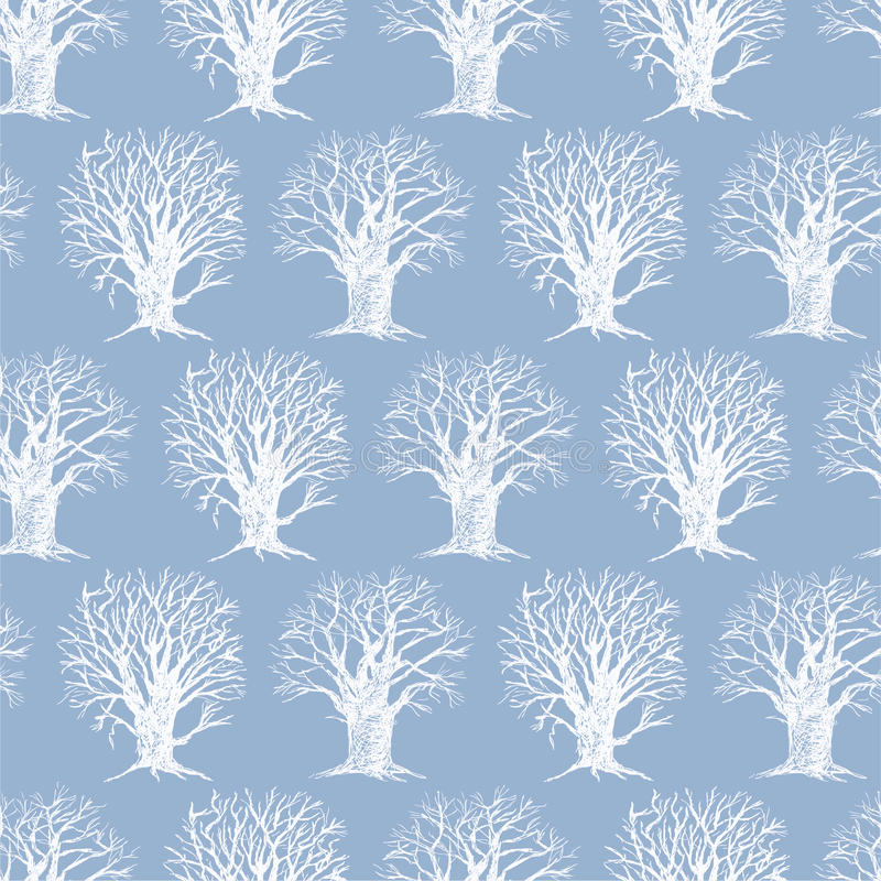 Pattern with a winter trees royalty free illustration