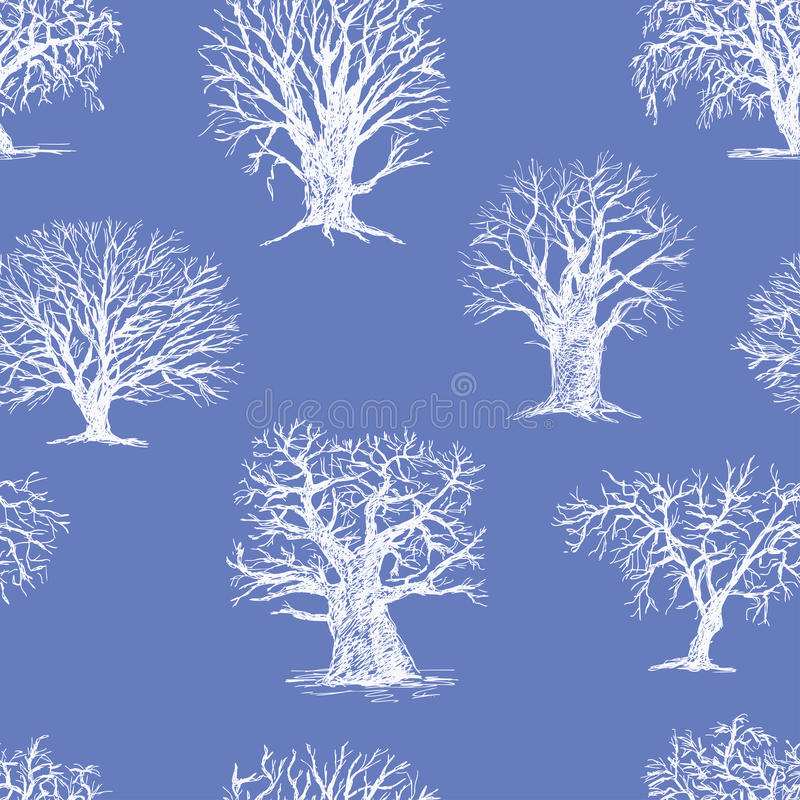 Pattern of the winter trees vector illustration