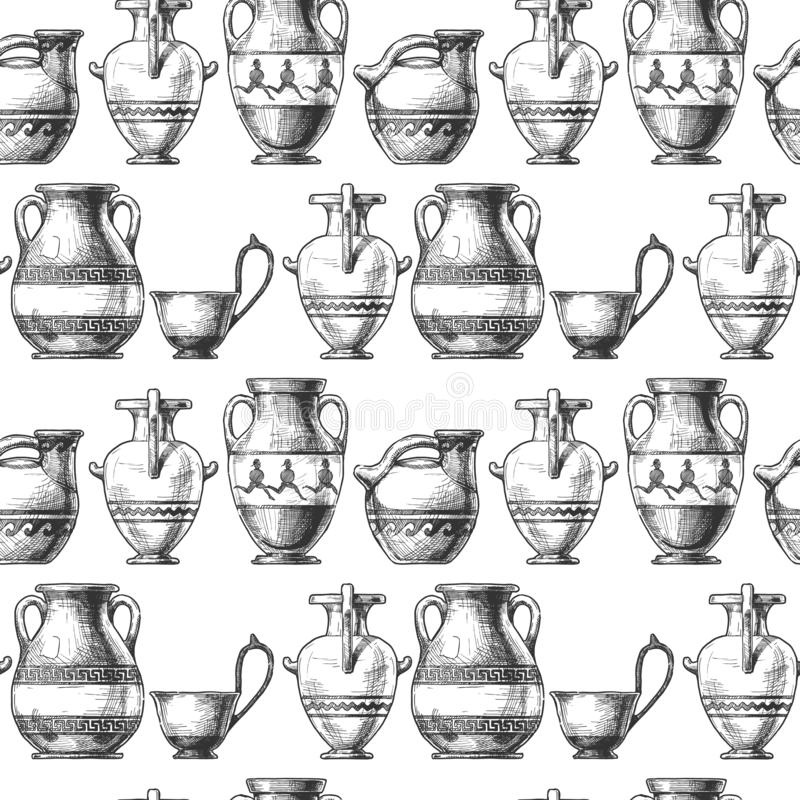Free Pattern With Greek Vases Stock Photography - 161676722