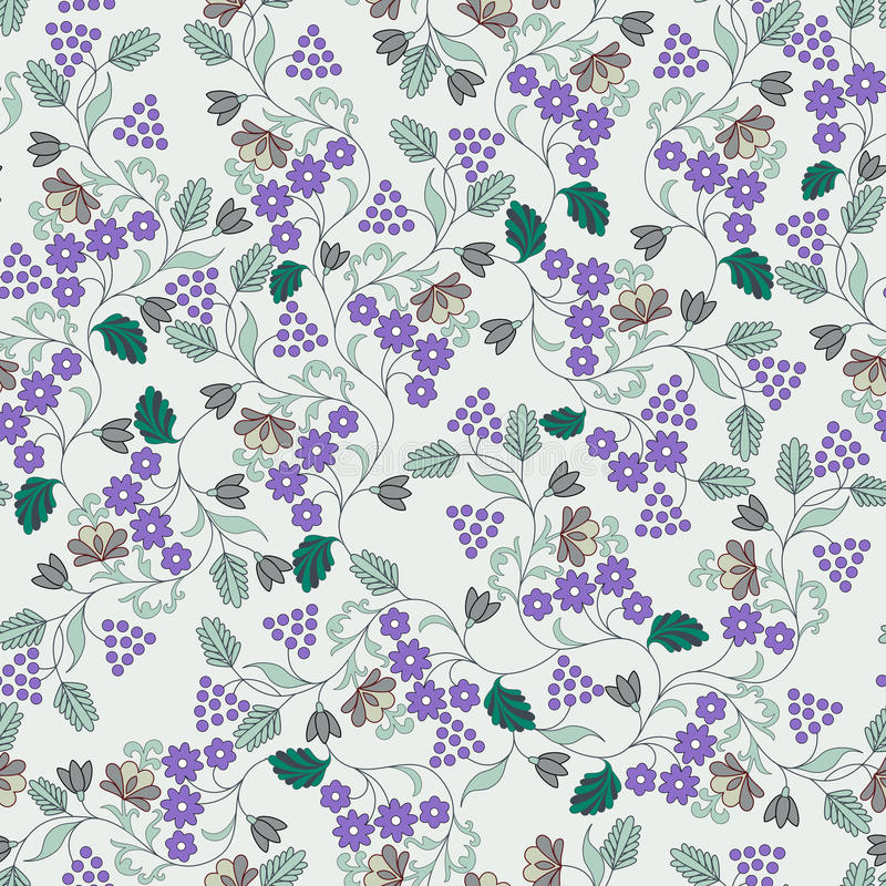 Free Pattern With Small Lilac Flowers And Berries Royalty Free Stock Photo - 38443225