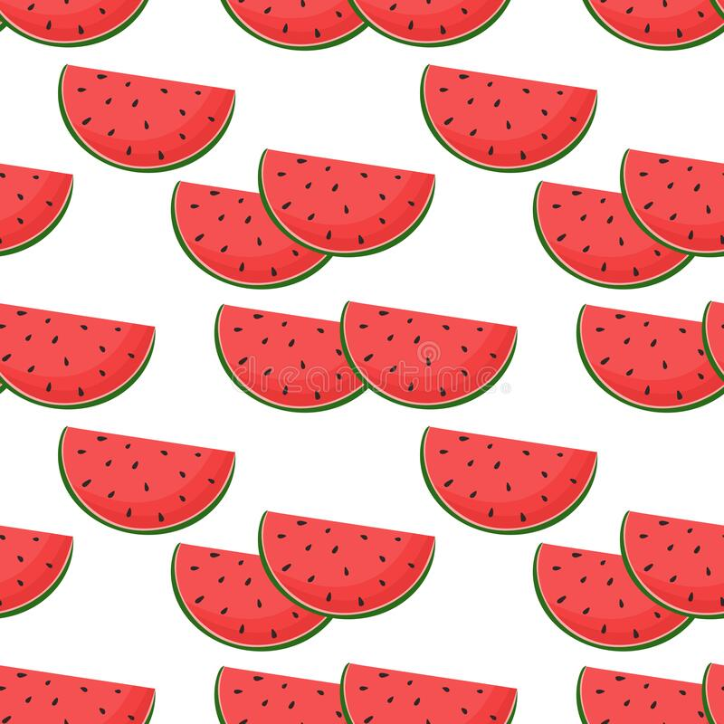 Free Pattern With Watermelons, Vector Illustration. Royalty Free Stock Images - 225055799