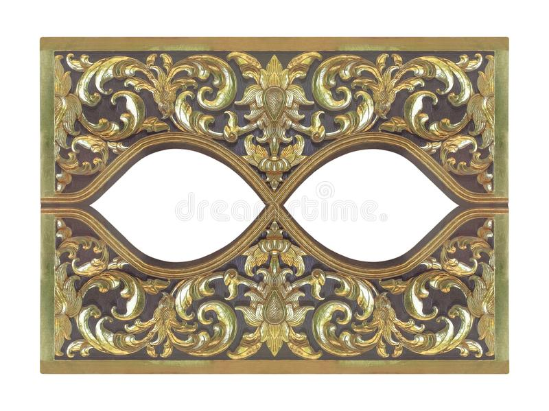 Pattern of wood gold flower carved on wood background royalty free stock images