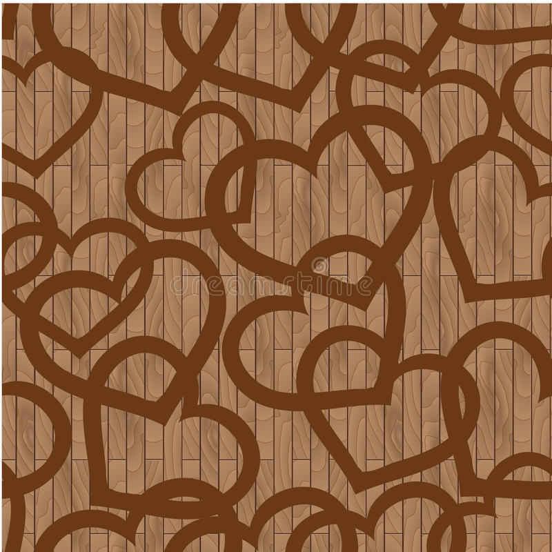 The pattern of the wooden boards, and hearts royalty free stock images