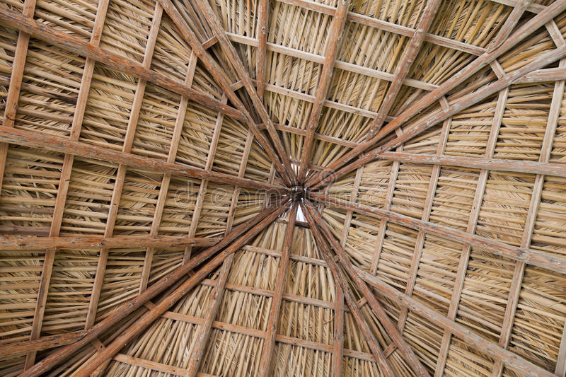 Pattern of wooden boards and straw on the ceiling. Cuba, Varader royalty free stock photos