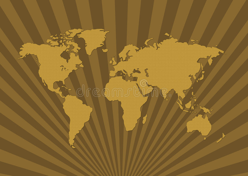 Pattern world map - ancient. Ancient Pattern world map in rays background stock illustration