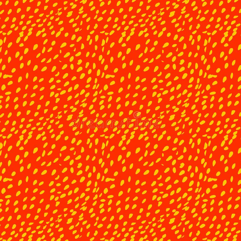 Pattern with yellow strawberry seeds on a red vector illustration