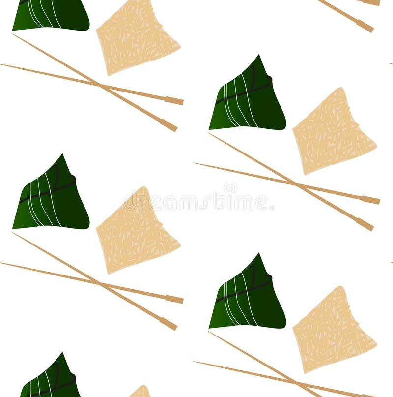 Pattern with zongzi and hasi. Pattern with chinese food zongzi and hasi vector illustration