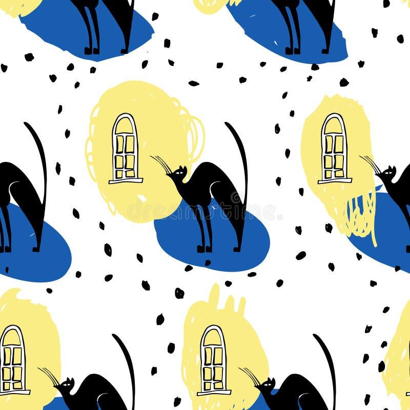 Patterncats inconsútiles del vector debajo de la ventana stock de ilustración
