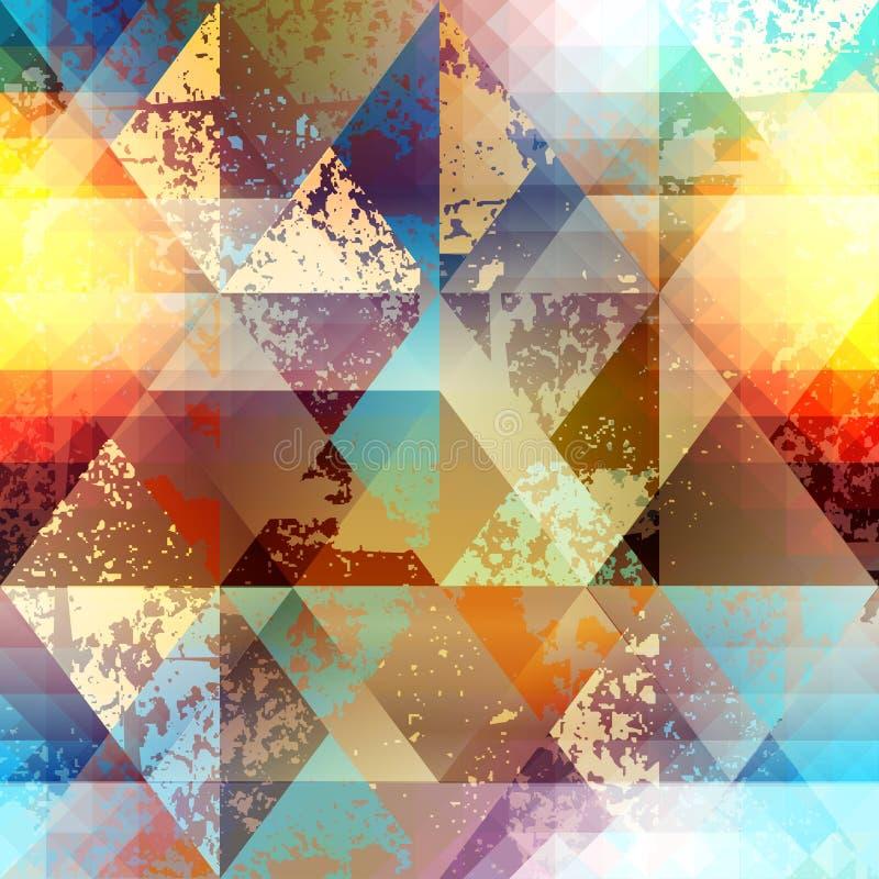 Patternd geométrico abstrato com elementos do grunge ilustração stock