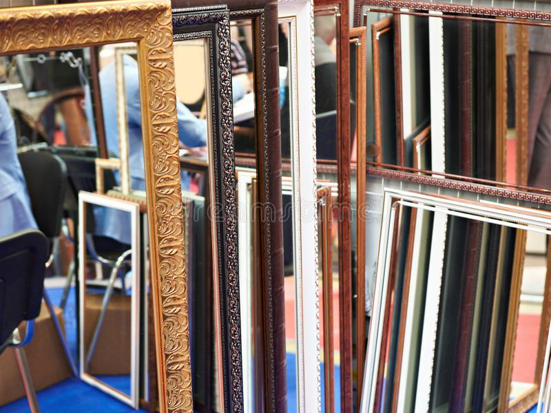 Patterned art frame for mirrors royalty free stock images