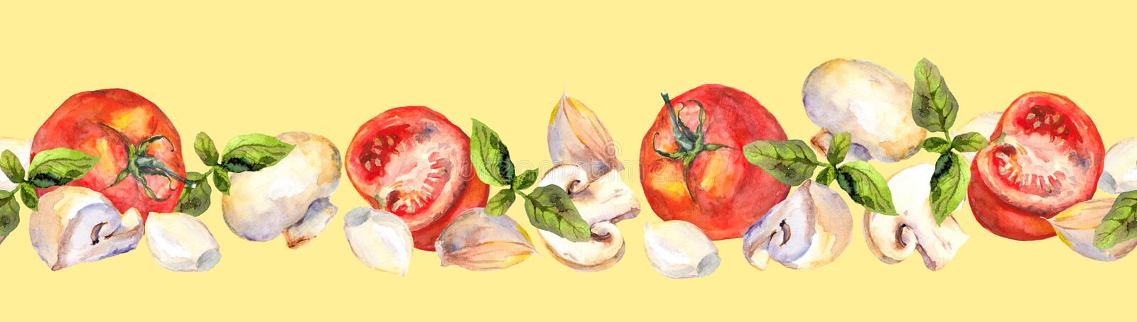 Patterned background with vegetarian vegetables: tomatoes, mushrooms, garlic and basil. Seamless background with tomatoes, mushrooms, garlic and basil for stock illustration