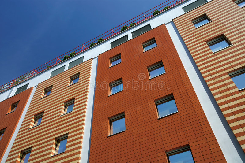 Patterned buildings stock image