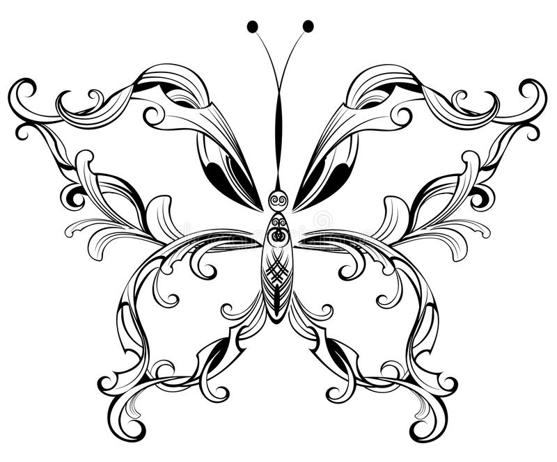 Patterned butterfly vector illustration