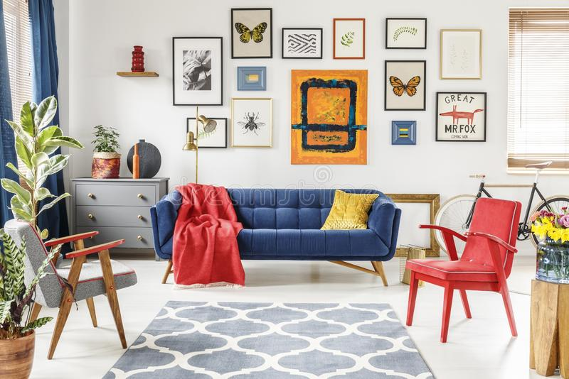 Patterned carpet in colorful living room interior with red armch stock photos