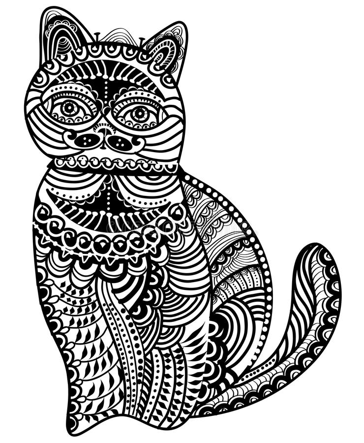Download Patterned cat stock vector. Image of culture, folk, happiness - 23031490