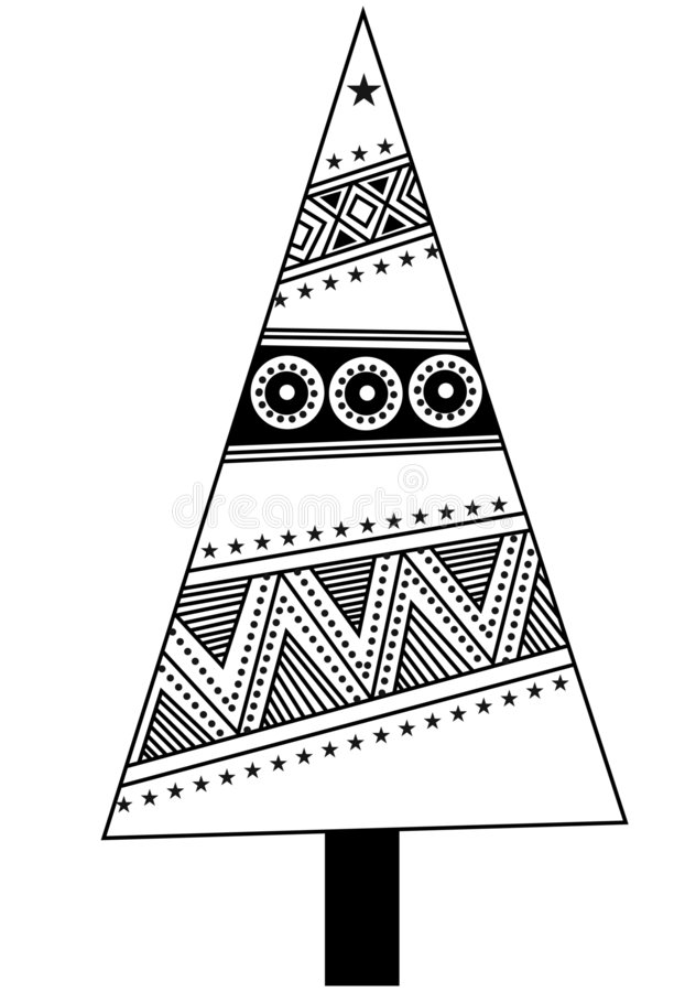 PAtterned Christmas tree vecto stock photography